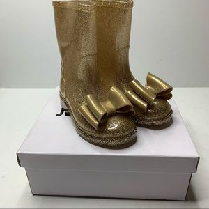 Jelly Beans Gold Glitter Bow rain boots NEW